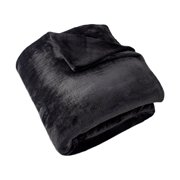 Cozy Home Supremely Soft Knitted Lightweight Flannel Fleece Blanket -Black-Full/Queen