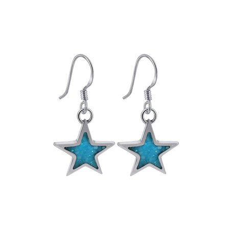 Gem Avenue 925 Sterling Silver Turquoise Star Drop Earrings Southwestern Style with French Hook (Turquoise Stone Drop)