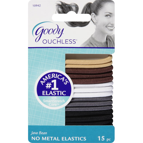 goody ouchless no metal hair elastics java bean 15