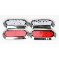 """6"""" Oval LED Trailer Lights 2 Red Stop/Turn/Tail & 2 Clear Backup Surface Chrome"""