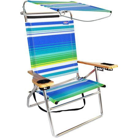 Deluxe 4 Position Aluminum High Beach Chair With Canopy