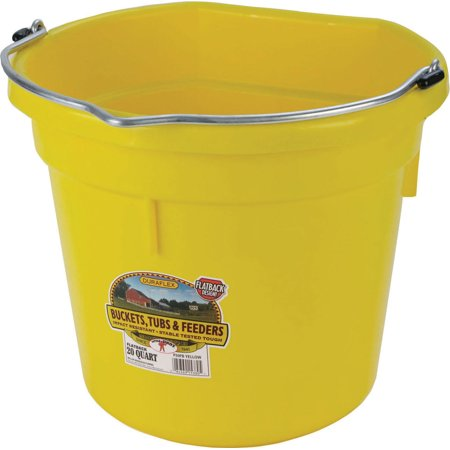 Miller Mfg Co Inc P-Little Giant Plastic Flat Back Bucket- Yellow 20 Quart
