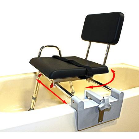 Tub Mount Sliding Swivel (Padded Tub-Mount Swivel Sliding Bath Transfer Bench (77761) - Regular - Heavy-Duty Shower Bathtub Chair - Eagle Health Supplies )