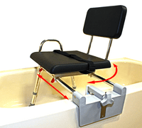 Padded Tub-Mount Swivel Sliding Bath Transfer Bench (77761) - Regular - Heavy-Duty Shower Bathtub Chair - Eagle Health Supplies