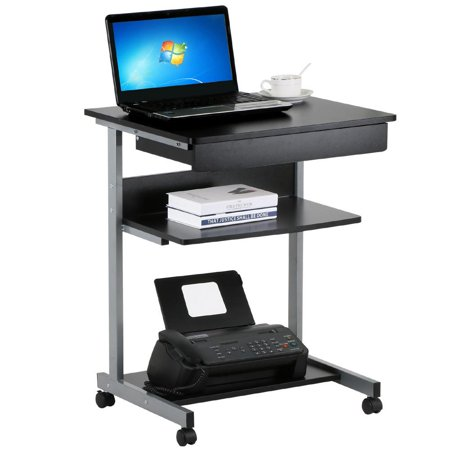 Black Wood Small Laptop Computer Cart Desk with Drawers and Printer Shelf on Wheels
