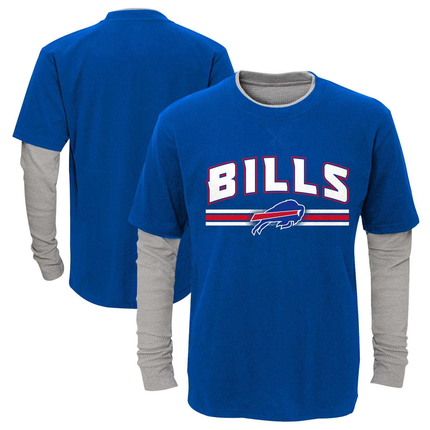 "Buffalo Bills Youth NFL ""Bleachers"" L/S Faux Layer Thermal Shirt"
