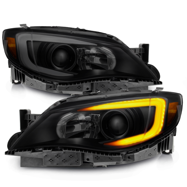 FOR 2008-2014 SUBARU IMPREZA WRX BLACK//SMOKE LED PROJECTOR HEADLIGHTS LAMPS NEW