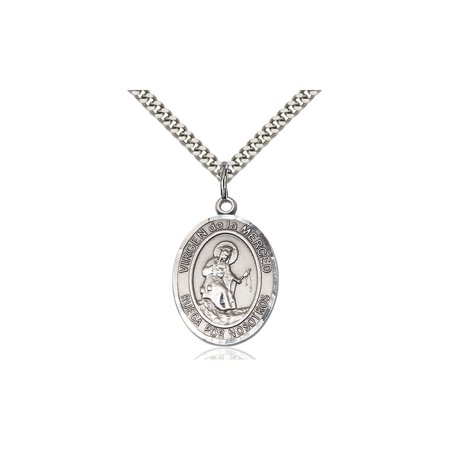 Sterling Silver Virgen De La Merced Medal Pendant 1 X 3 4 Our Lady Miraculous Immaculate Conception Virgin Mary On A 24 Inch Stainless Silver Curb Chain Necklace Gift Boxed