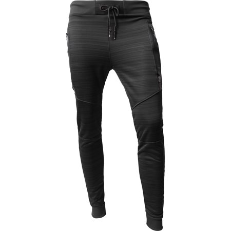 Mens Modern Jogger Pants with Zipper Pockets Solid Slim Fit Casual Brushed Sweatpants