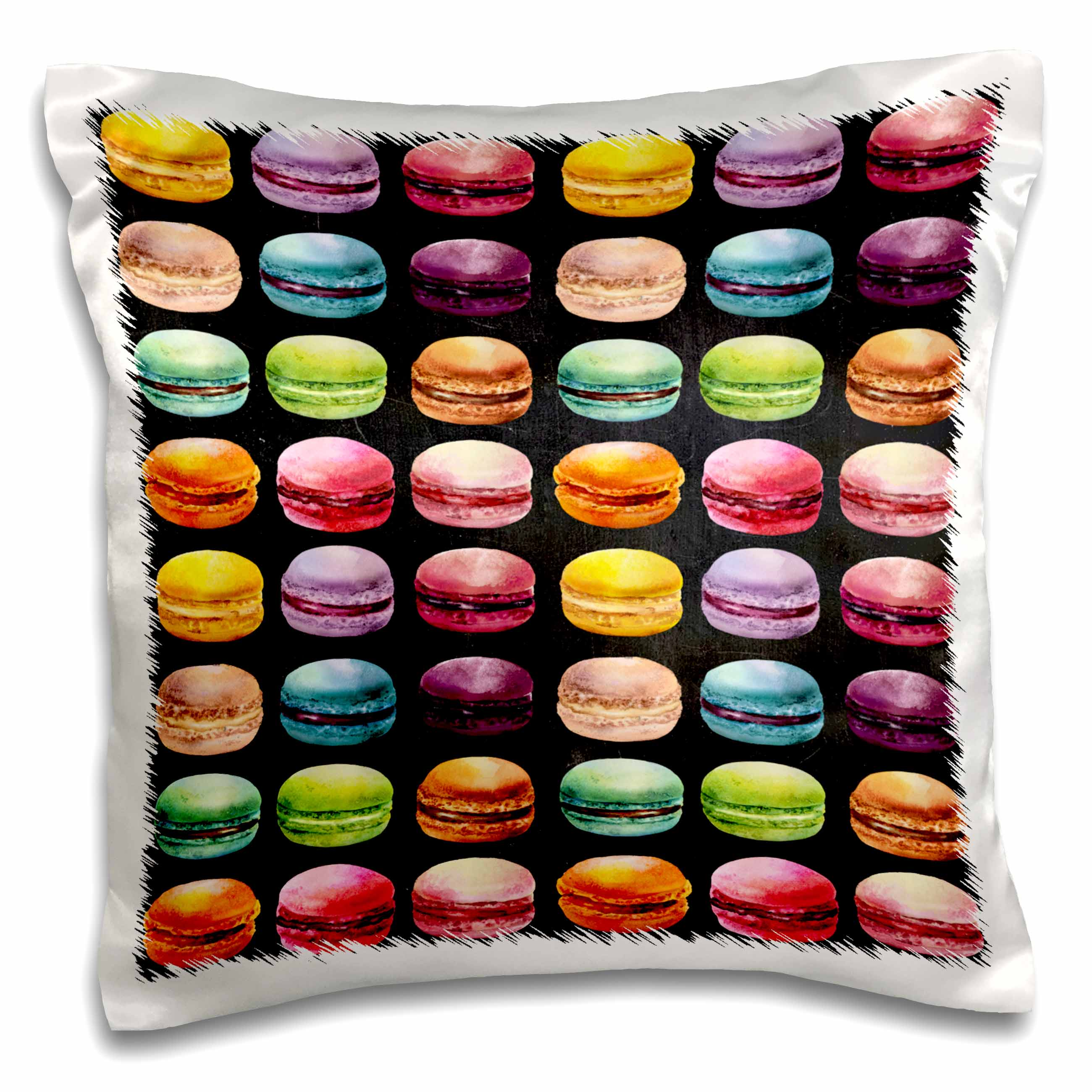 3dRose Cute French Macaroon Cookies Pattern On A Black Background - Pillow Case, 16 by 16-inch