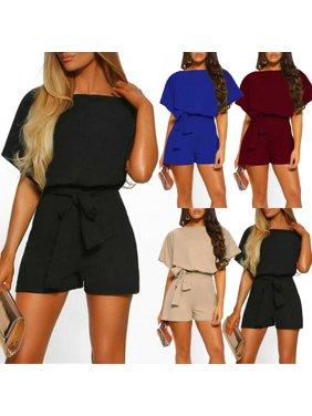 Multitrust Women Summer Batwing Sleeve Jumpsuit Playsuit Bodycon Romper Trousers Clubwear