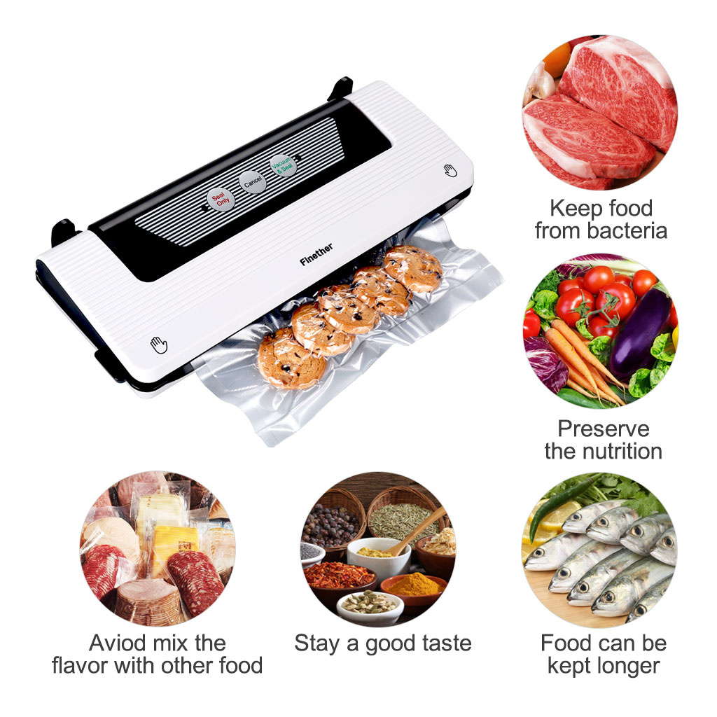 Vacuum Sealer By Finether | Automatic Vacuum Air Sealing System For Food Preservation w/ Starter Kit | Compact Design | Dry & Moist Food Modes | Led Indicator Lights (White)