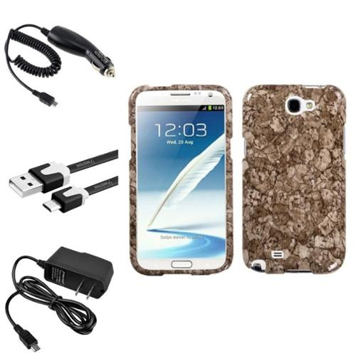 Insten Stone Vein Hard Case 2x Charger 3x USB Cable For Samsung Galaxy Note 2 II