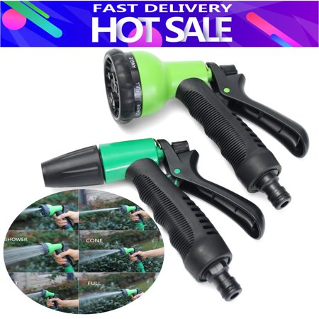 Garden Water Sprayer Hose Irrigation Soft Grip Nozzle 8 Spray Settings Car Washing- 2 - Soft Button Sprayer