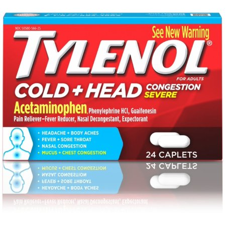 2 Pack - TYLENOL Cold Head Congestion Caplets For Adults, Severe, 24 ea