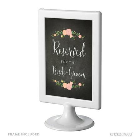 Reserved For The Bride & Groom Framed Chalkboard & Floral Roses Wedding Party Signs