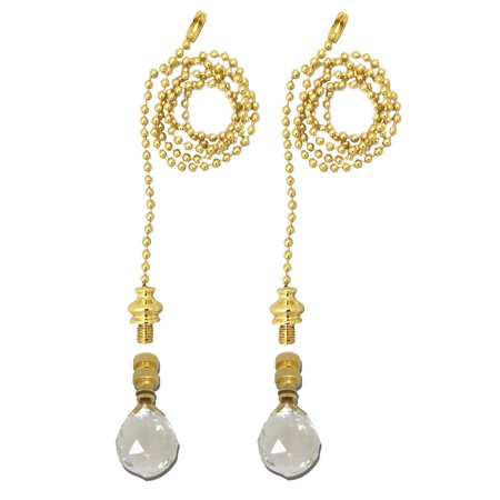 Royal Designs Fan Pull Chain with Medium Faceted Diamond Crystal Finial - Polished Brass - Set of 2 ()