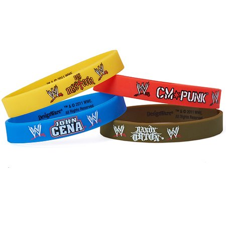 WWE Rubber Bracelets, 4 Count, Party Supplies