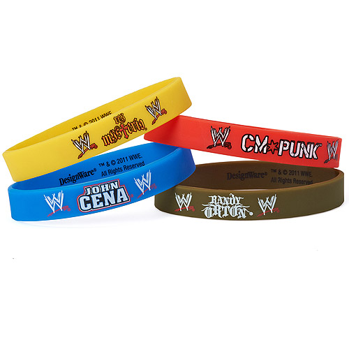 WWE Party Favor Rubber Bracelets, 4ct