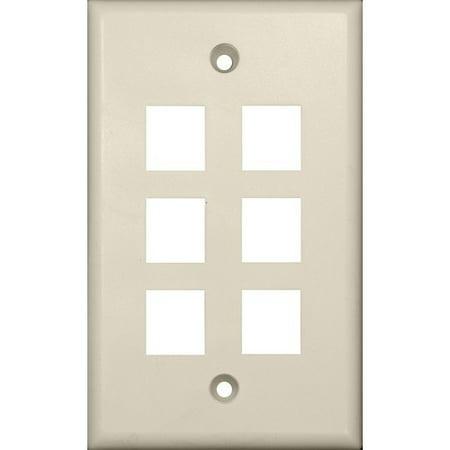 Keystone Jack Almond (Morris Products 88190 Wallplate For Keystone Jacks And Modular Inserts Six Ports Lt. Almond)