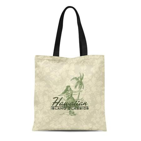 Palm Tree Hula Girl (LADDKE Canvas Tote Bag Hawaii Tradewinds Hawaiian Island Hula Girl Palm Trees Tropical Reusable Handbag Shoulder Grocery Shopping Bags )