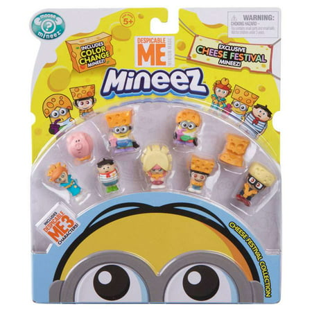 Despicable Me 3 Cheese Festival Say Cheese Agnes, Cheeze Head, Big Cheese Edith, Cheddar Head Dave, Cheese Fest Margo, Niko, Cheese Hat Jerry, Cheese Lucy & Freedonian Pig Mini Figure 9-Pack](Edith Despicable Me)