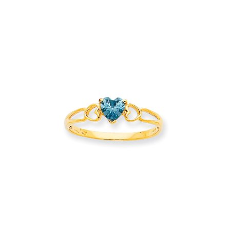 - 10k Yellow Gold Genuine Aquamarine Solitaire Engagement Ring 0.37CT