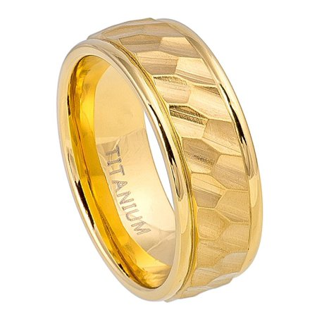 8mm Titanium Hexagon Design Center with High Polished Yellow Gold IP Wedding Band Ring For Men Or Ladies