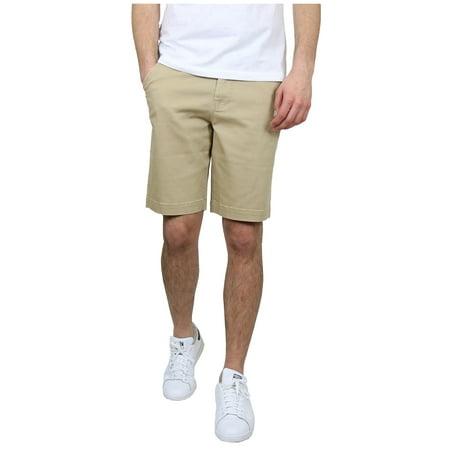Men's 5-Pocket Flat-Front Stretch Chino Shorts - KHAKI