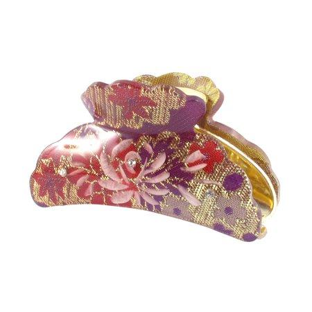 Unique Bargains Woman Purple Hard Plastic Clamp Teeth Design Hair Clip Claw 3.5 Inch Length