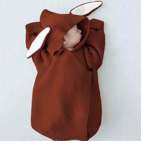 Baby Knitting Hooded Swaddle Rompers Bunny Ear Wraparound Sleeping Bag Swaddling Blanket Acrylic Nhl Baby Blanket