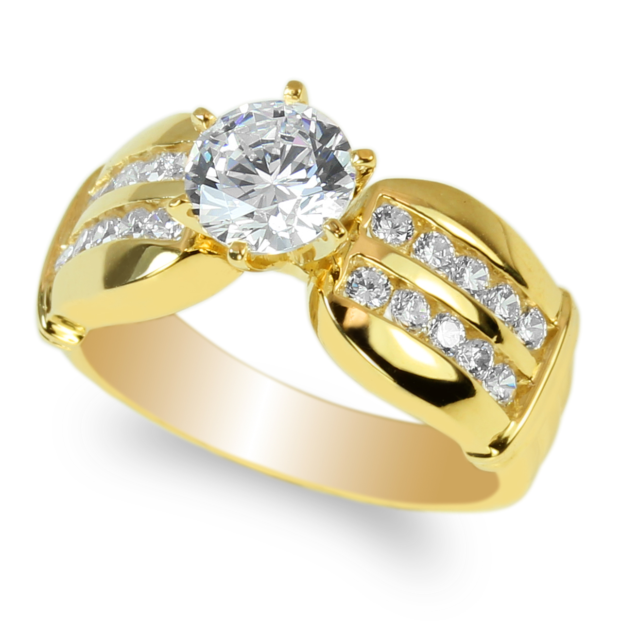 JamesJenny Ladies 10K Yellow Gold 1.0ct Round CZ Unique Engagement Solitaire Ring Size 4-10