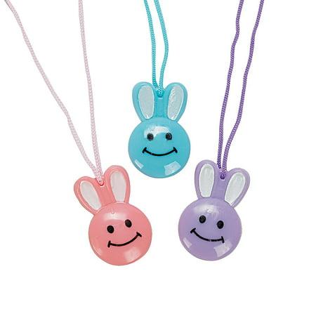 Fun Express - Smile Face Bunny Necklaces(6dz) for Easter - Jewelry - Necklaces - Necklaces - Novelty - Easter - 72