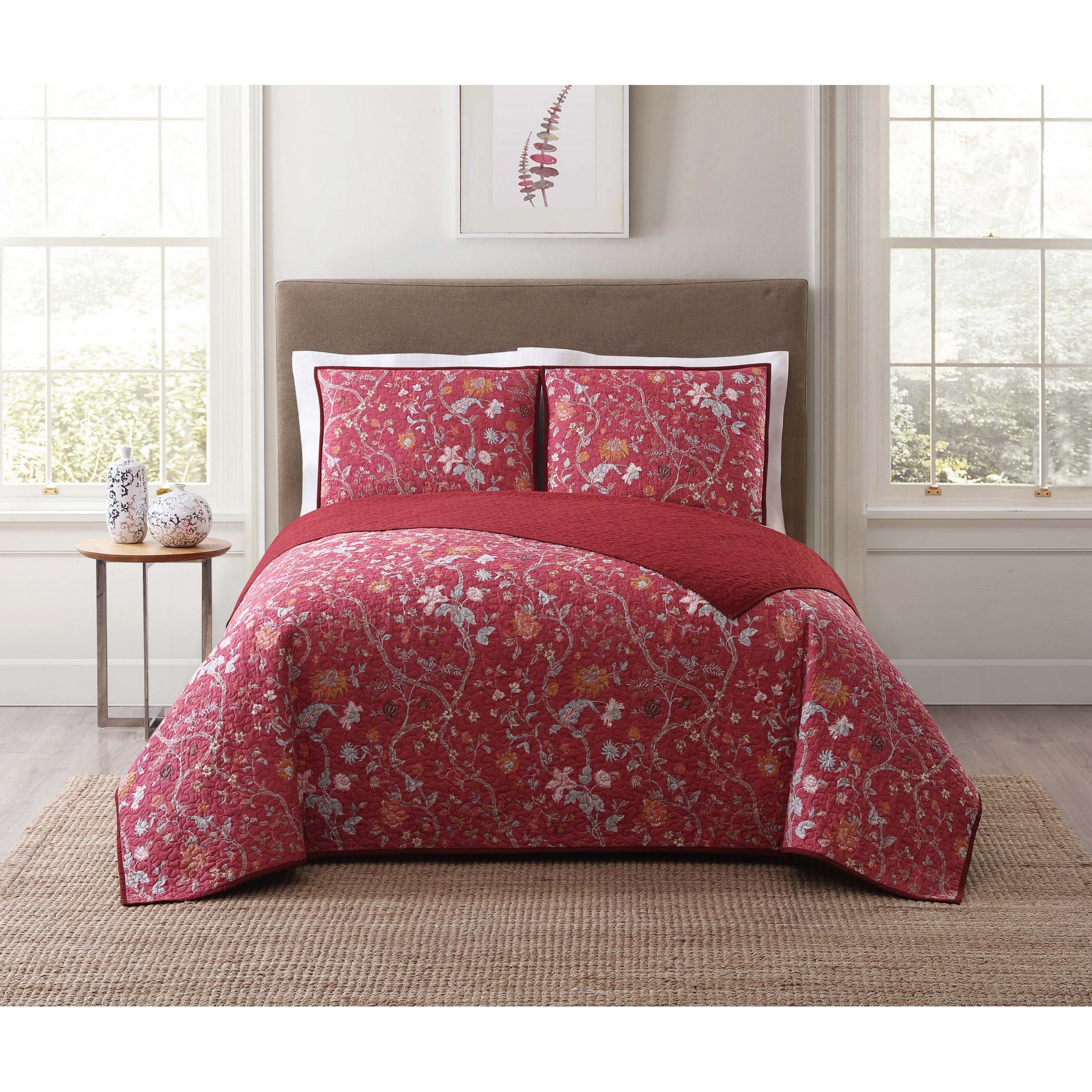 Style 212 Bedford Red Twin XL Quilt Set