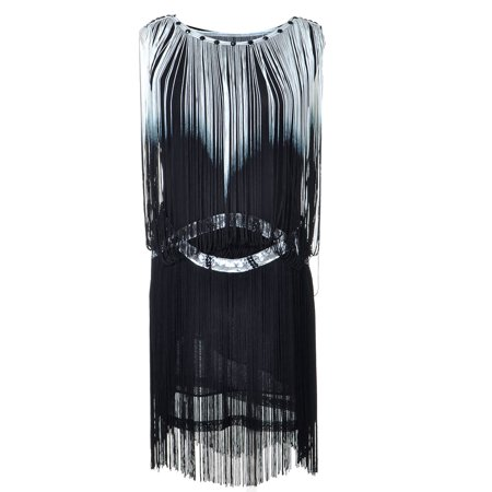 Fringe Flapper Dress (Womens Black Fringe Tassel Trim Drop Flapper Waist Cocktail Mini)