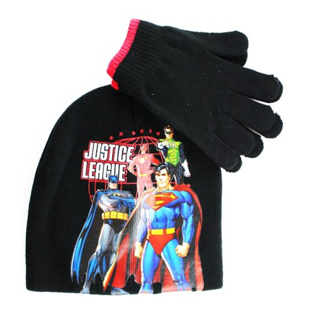 Justice League DC Comics 2 Piece Winter Hat Set Justice League Beanie    Gloves 6ff29ee13a1