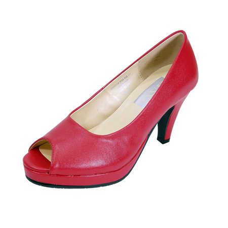 PEERAGE Ruth Women Extra Wide Width Peep Toe Platform Pump RED 5 Bow Peep Platform
