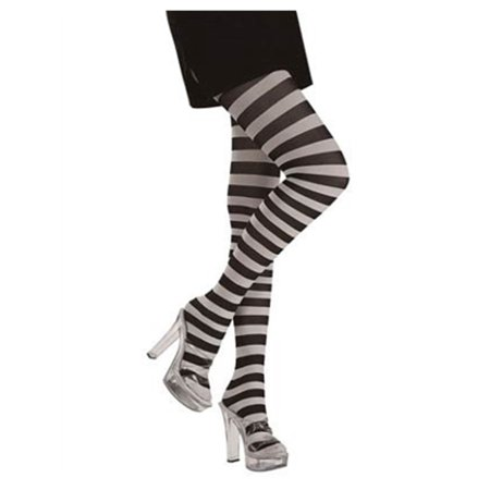Womens  Black and White Striped Wednesday Addams Costume Tights - Green Black Striped Tights