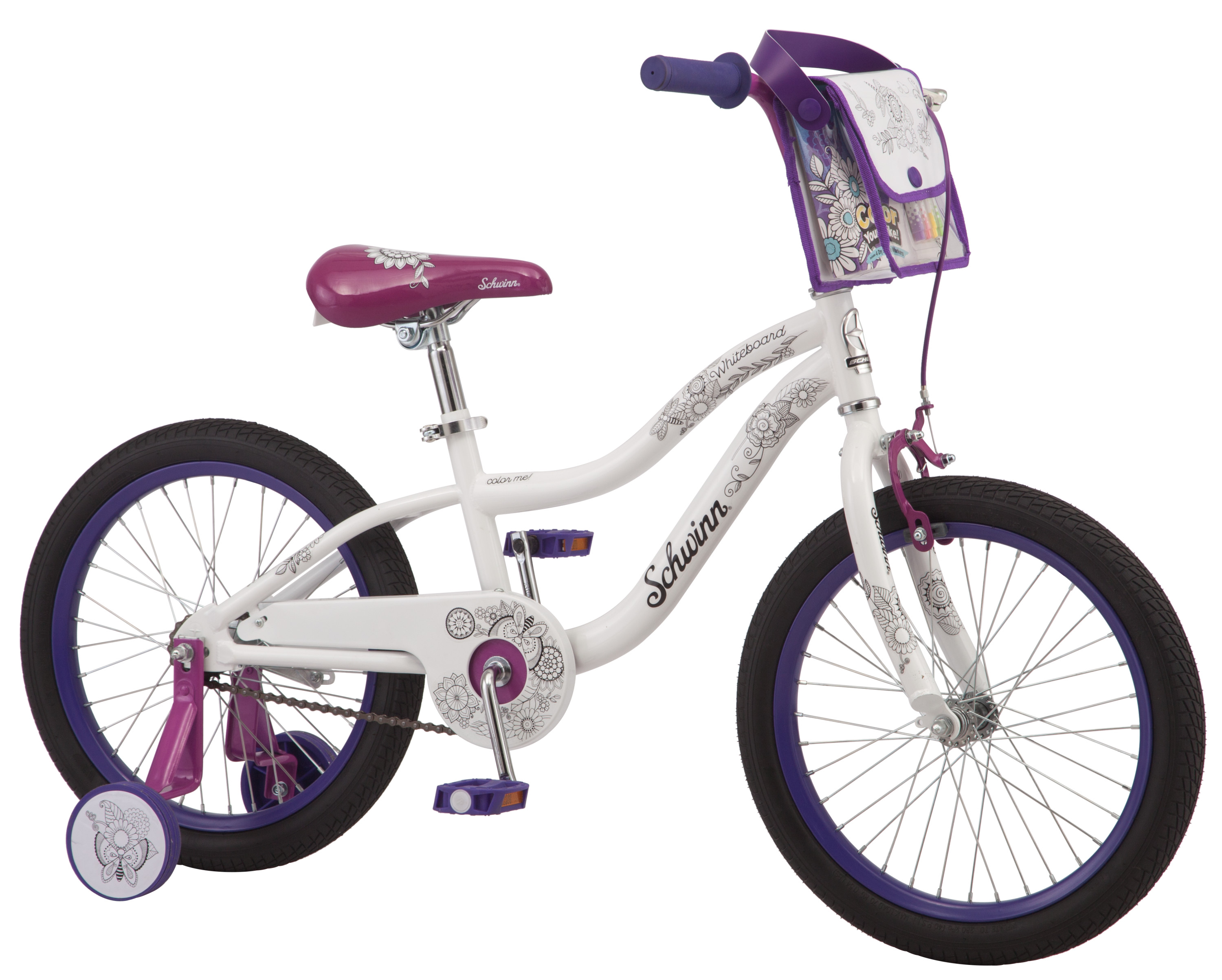 Click here to buy Schwinn WhiteBoard Color-Me Kids Bike, 18 inch wheel, training wheels, coloring, 4 dry erase markers and bag... by Pacific Cycle.