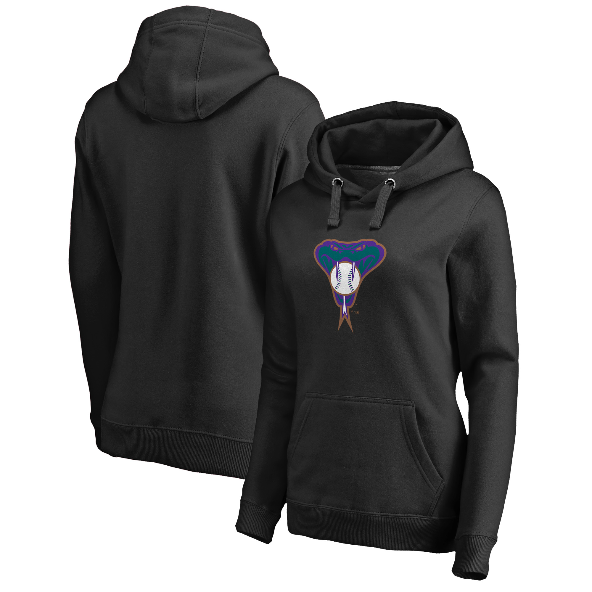 Arizona Diamondbacks Fanatics Branded Women's Plus Size Cooperstown Collection Huntington Pullover Hoodie - Black