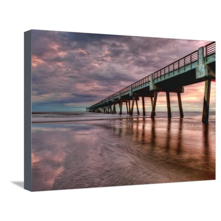 Jacksonville, Fl: Sunrise Colors the Skies at the Pier Stretched Canvas Print Wall Art By Brad Beck ()