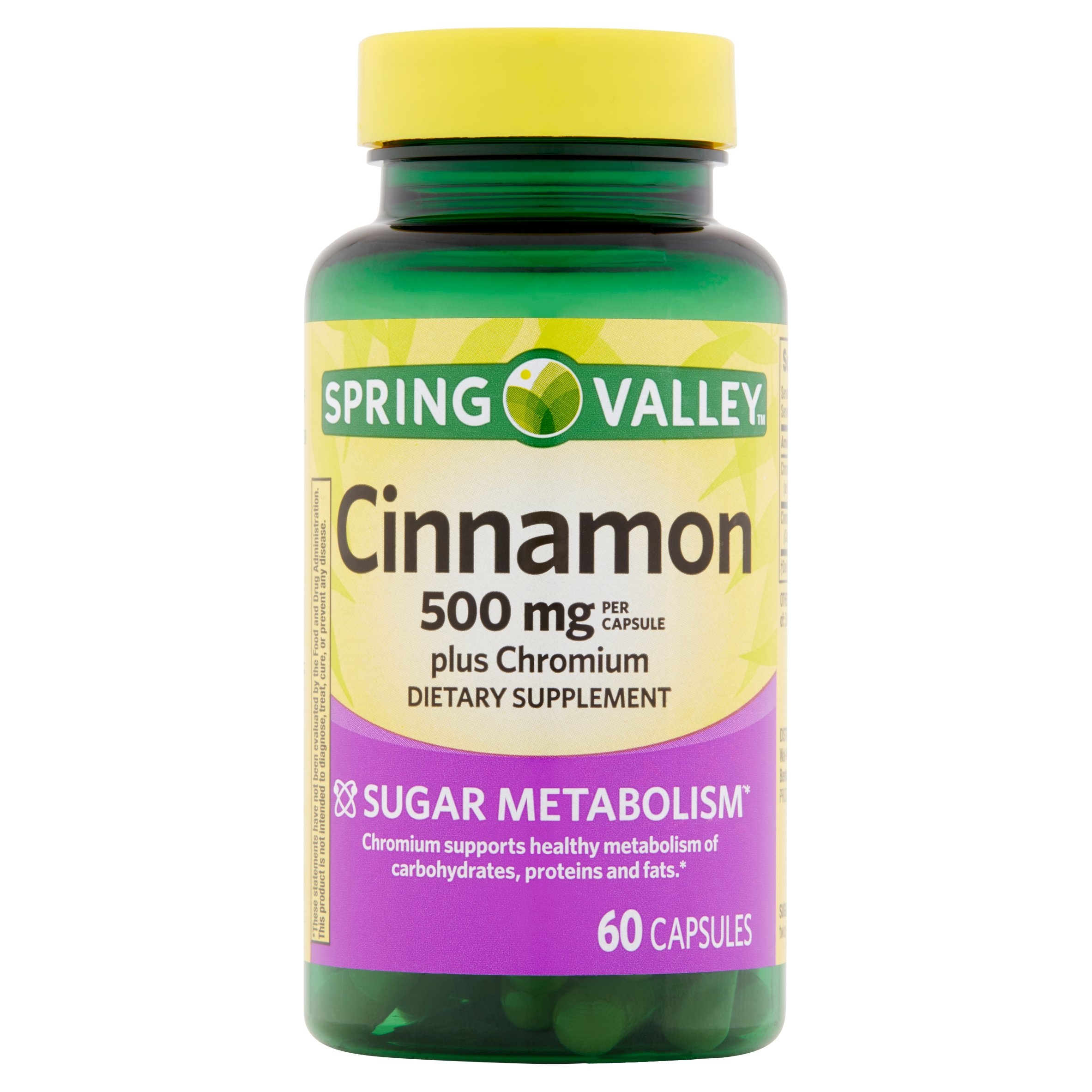 Spring Valley Cinnamon Plus Chromium Capsules, 500 mg, 60 Ct