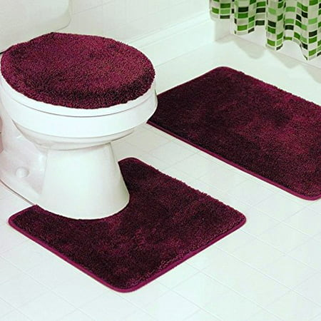 3 Piece Bathroom Set Bath Mat Contour And Lid Cover With Rubber Backing 6
