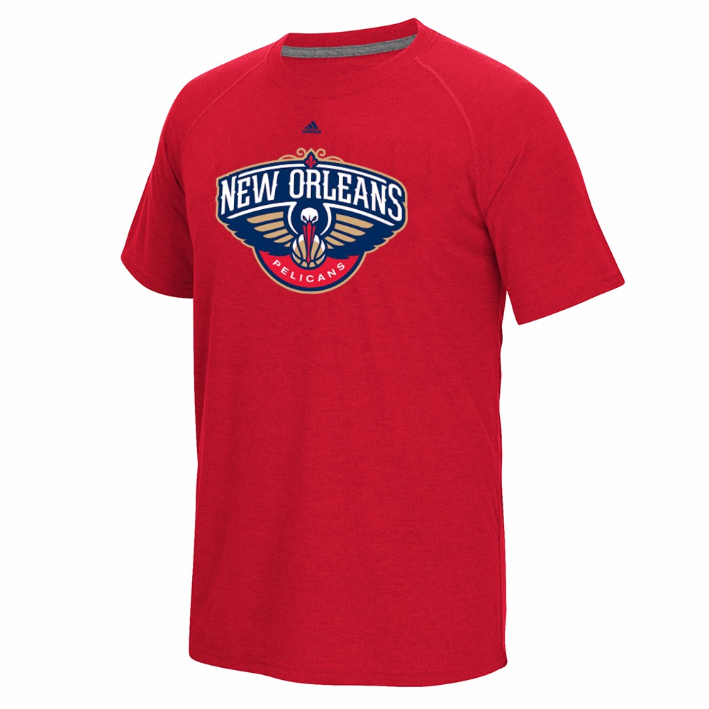 "New Orleans Pelicans NBA Adidas Red ""Huge Preferred Logo"" Climalite Performance Short Sleeve T-Shirt For Men by Adidas"
