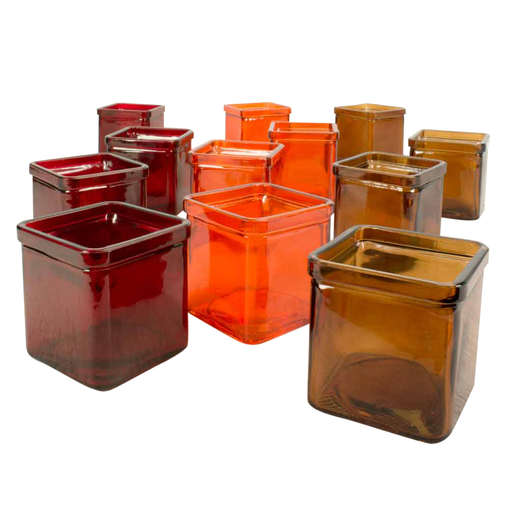 "3"" 8.5 oz  Square Glass Jars, Candle Holders, Red, Orange..."