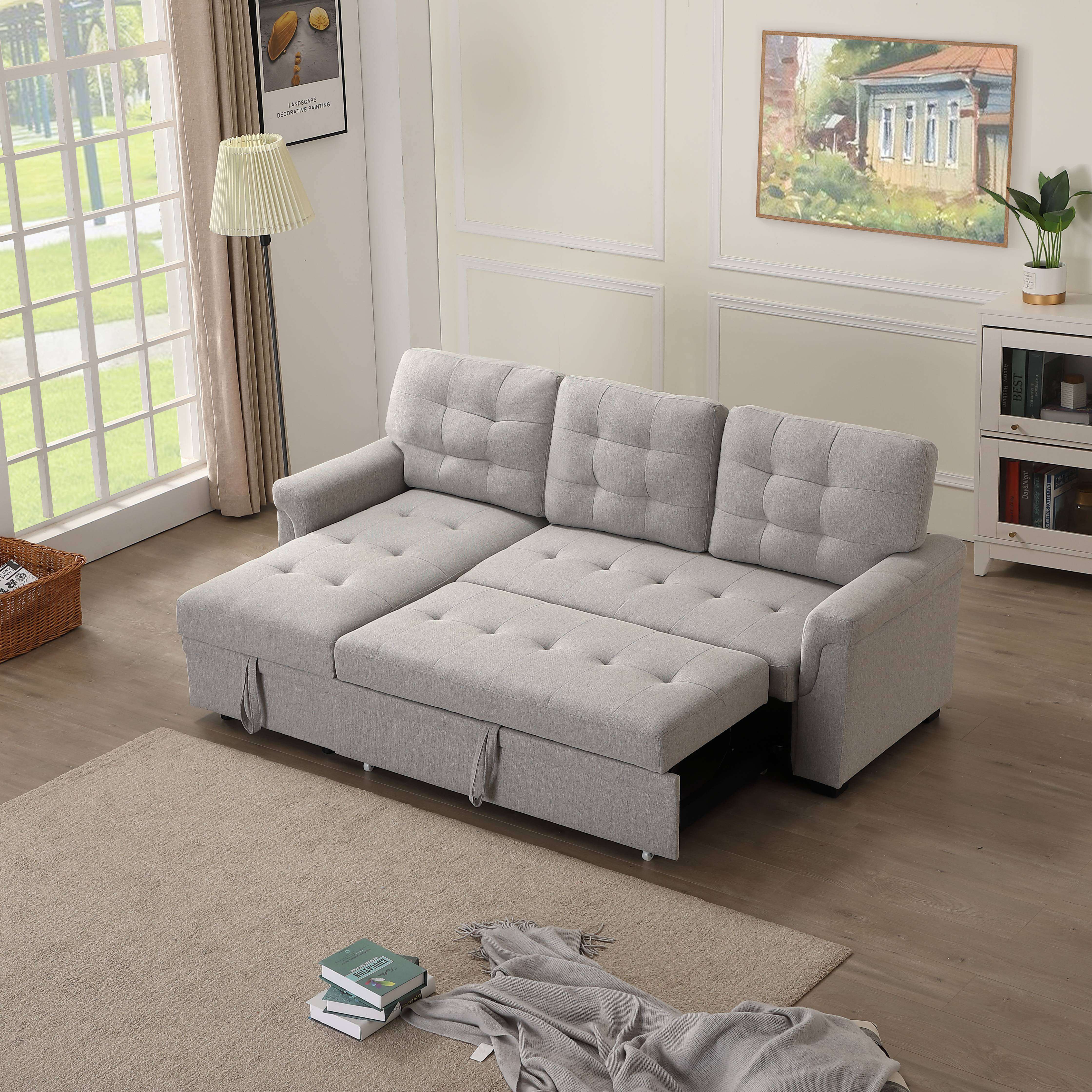 12'' x 12'' x 12.12'' Contemporary Sectional Sofa Bed for Living Room, Soft  Upholstery Sectional Sofas & Couches with Fold Out Twin Size Sleeper, ...