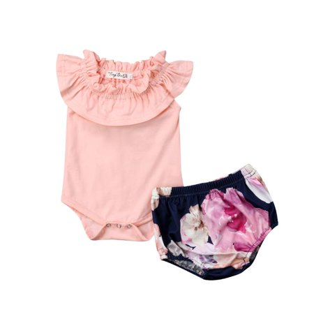 d8db74b56aa2 Emmababy - 2PCS Newborn Baby Girls Rompers Shorts Set Clothes Sleeveless Romper  Clothing for 0-18M Toddler Infant Girl - Walmart.com