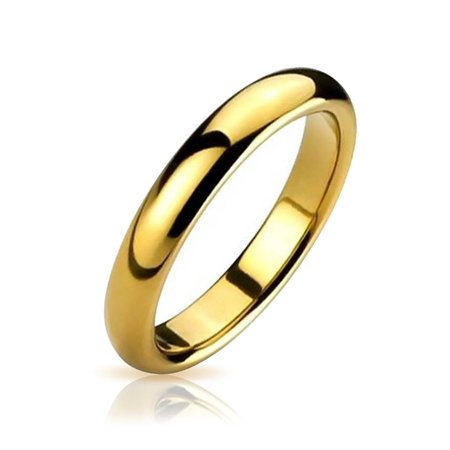 - Plain Simple Thin Dome Couples Wedding Band Shiny 14K Gold Plated Tungsten Rings For Men For Women Comfort Fit 4mm