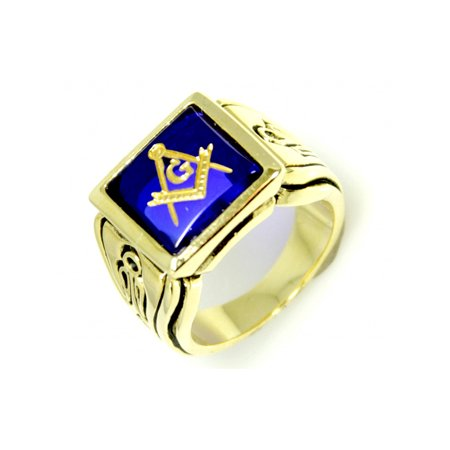 Faux Sapphire Stone Masonic Ring (Masonic Oval Mens Ring)