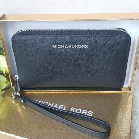Michael Kors saffiano leather phone case wristlet wallet black with Silver